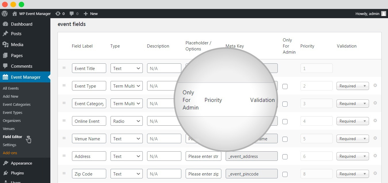 wp event manager Custom Fields Settings
