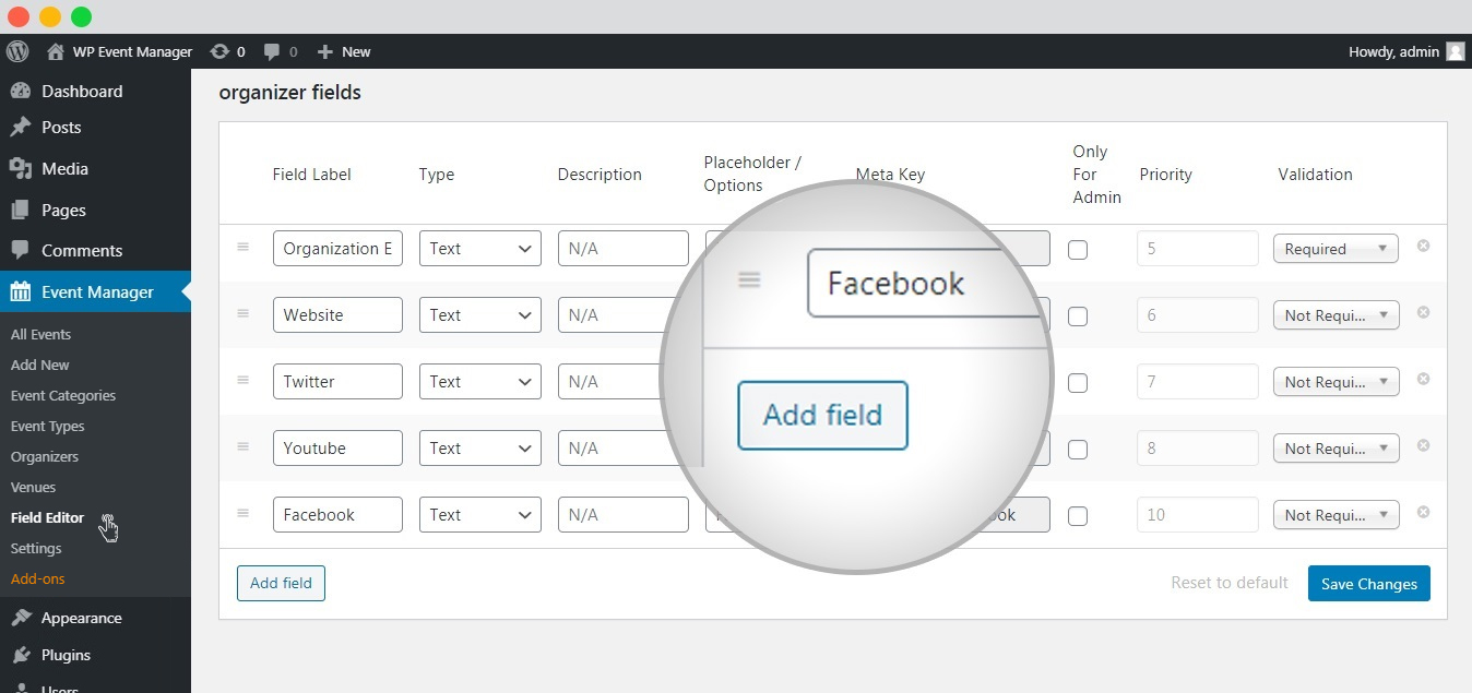 wp event manager add a new organizer field