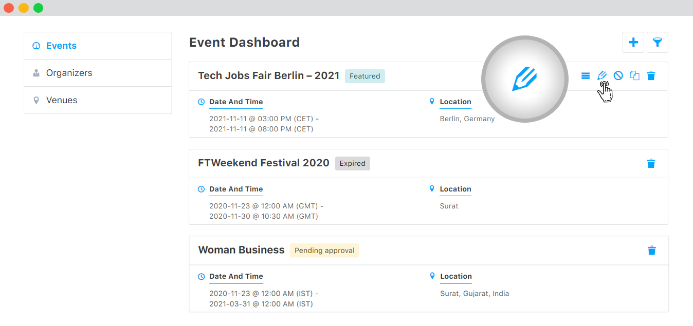 WP event manager Frontend event dashboard