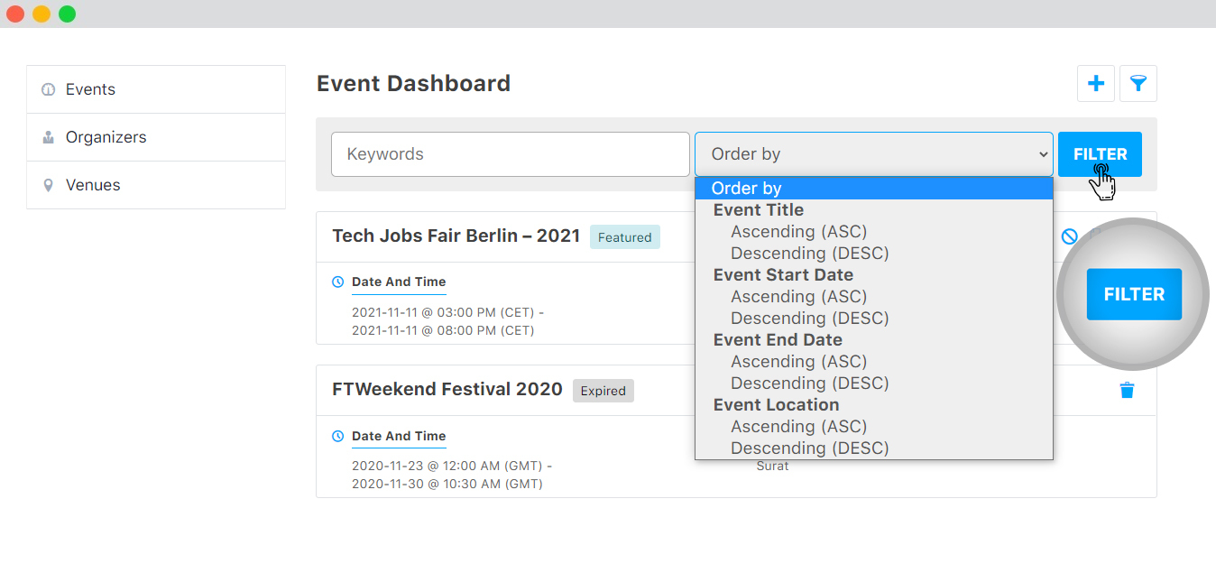 WP event manager Sorting Events