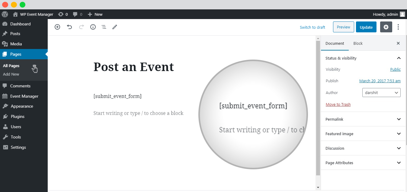 WP Event Manager Event Form Detail