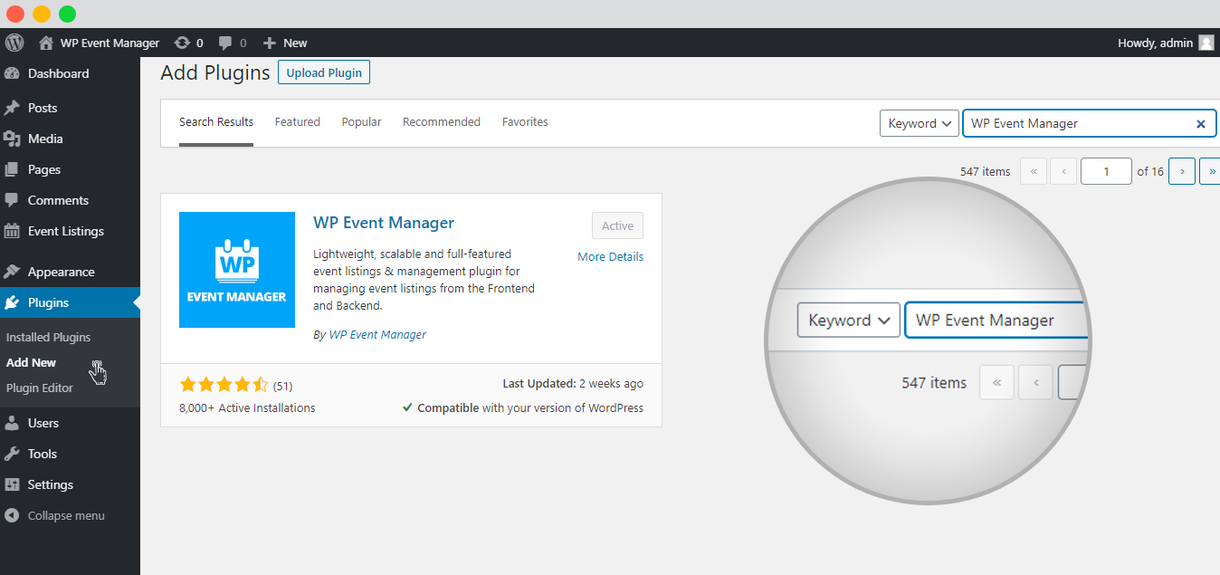 wp event manager Add New Plugins