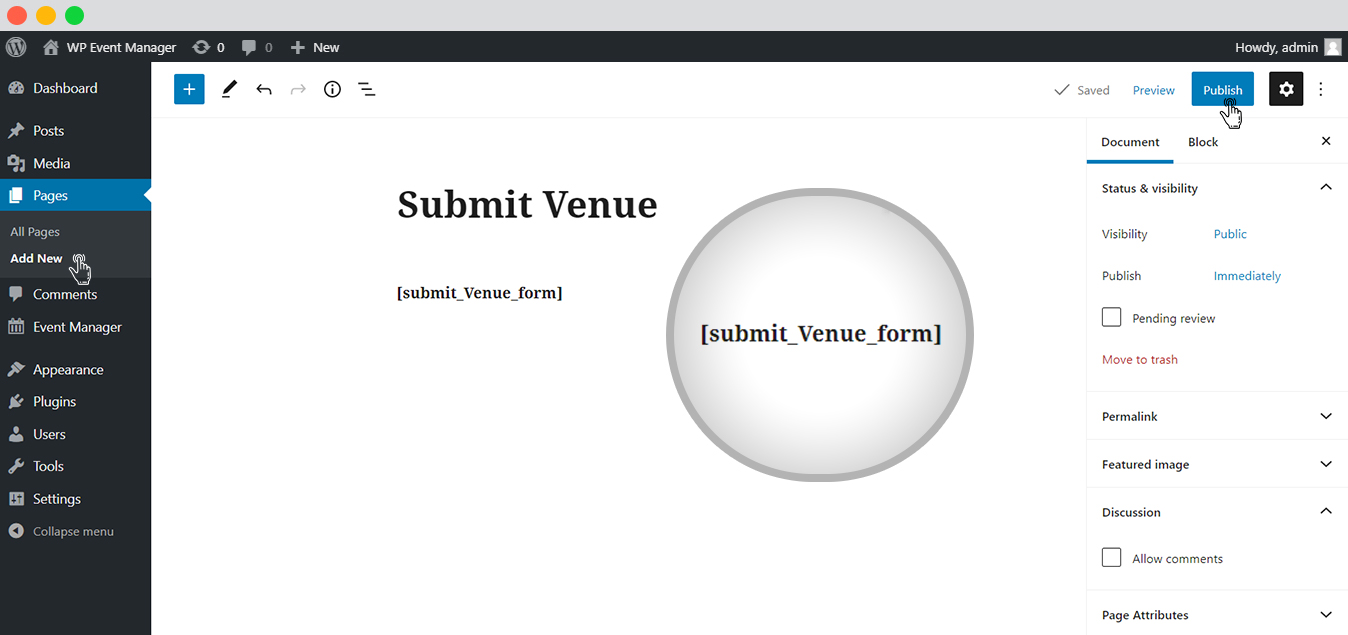WP event manager Submit Venue Page
