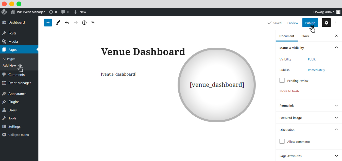 WP event manager Venue Dashboard