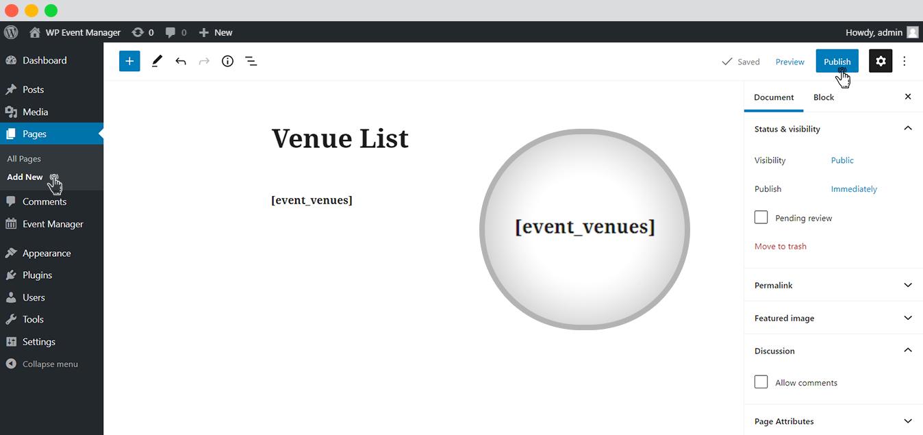 WP event manager Event Venue list