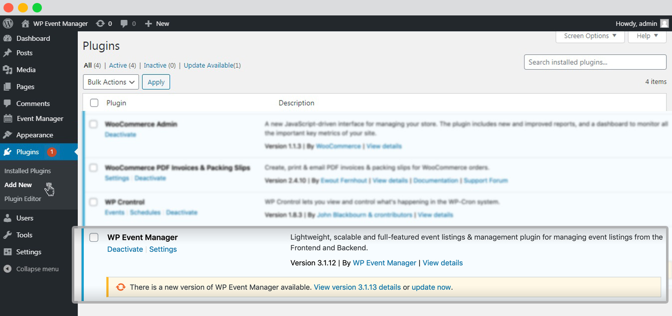 wp event manager Plugin update