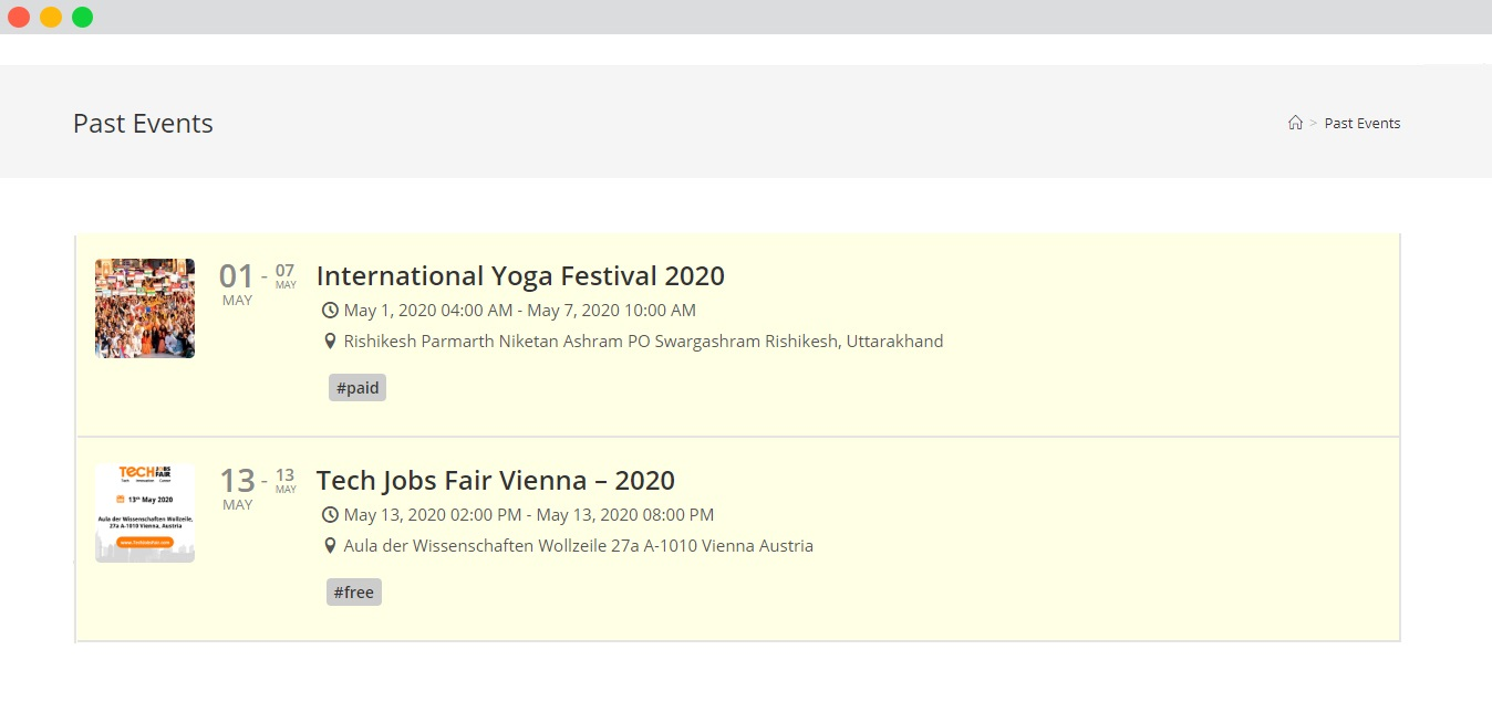 wp event manager Preview and publish past events
