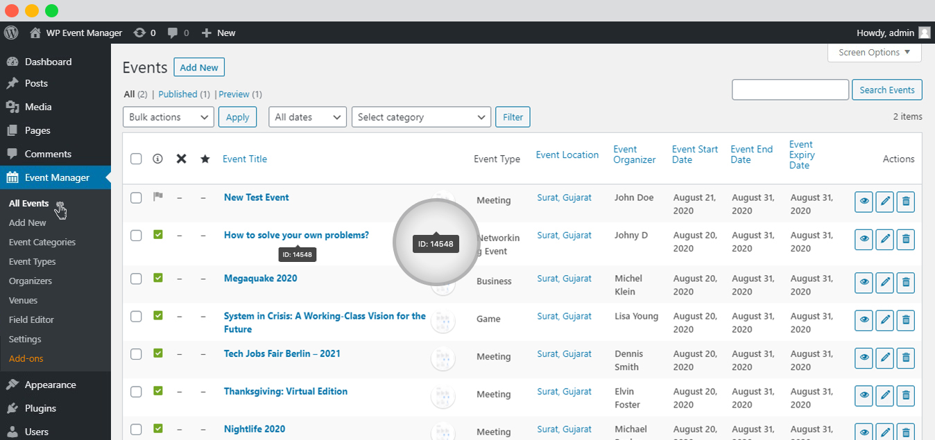 WP event manager single event listing event id