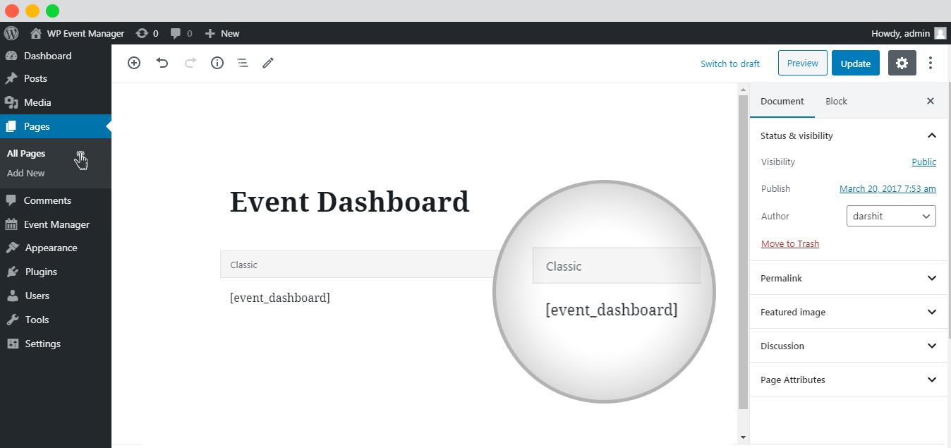 The Event Dashboard Setup
