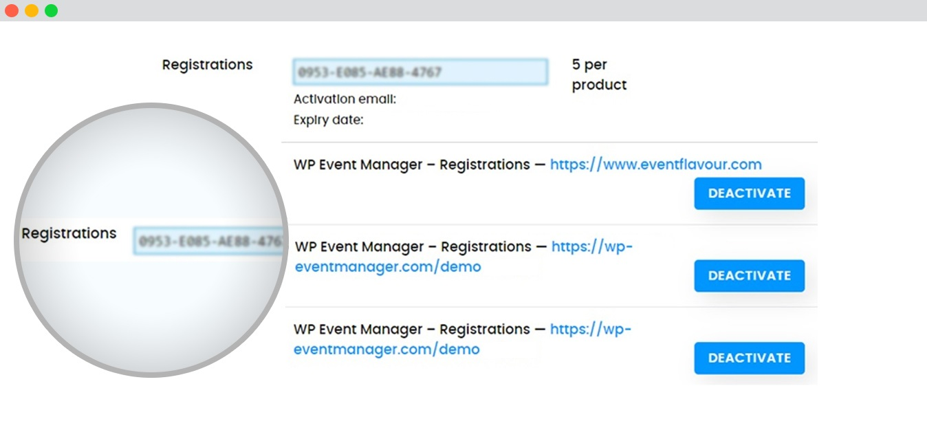 wp event manager add-on-domain key change
