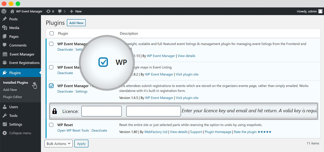 wp event manager add ons tutorial Licence key activation 2
