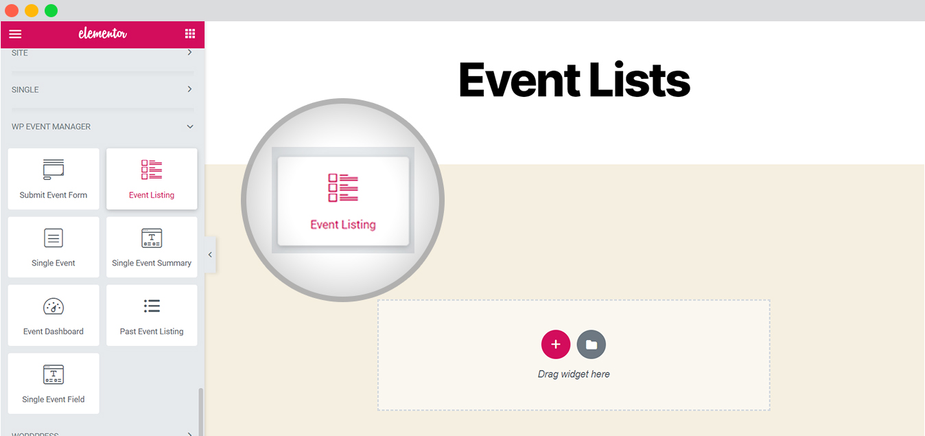 wp event manager event list with elementor drag drop
