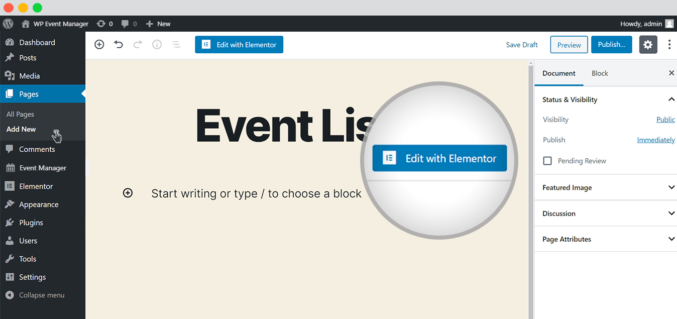 wp event manager event list with elementor edit