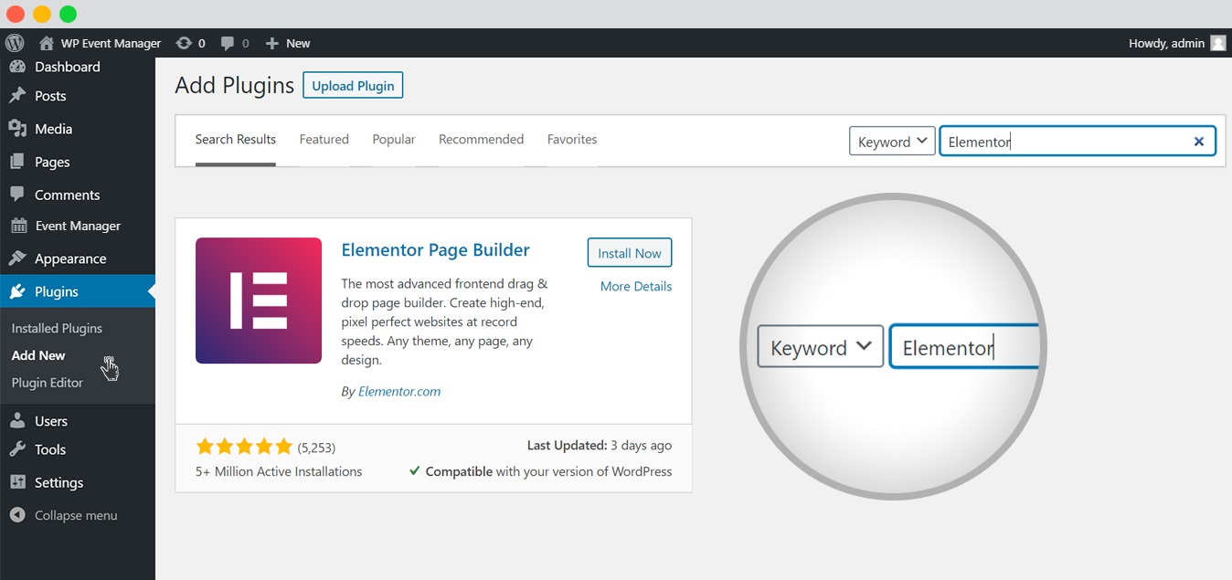 wp event manager event list with elementor elemento search