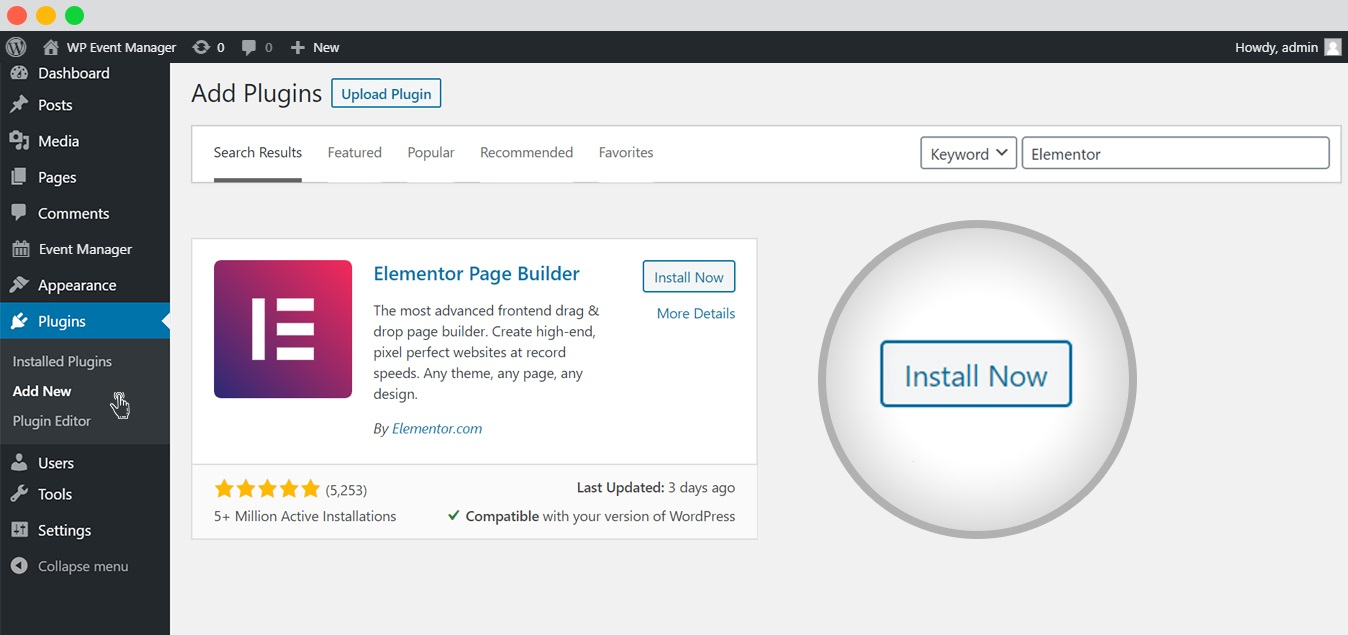 wp event manager event list with elementor install