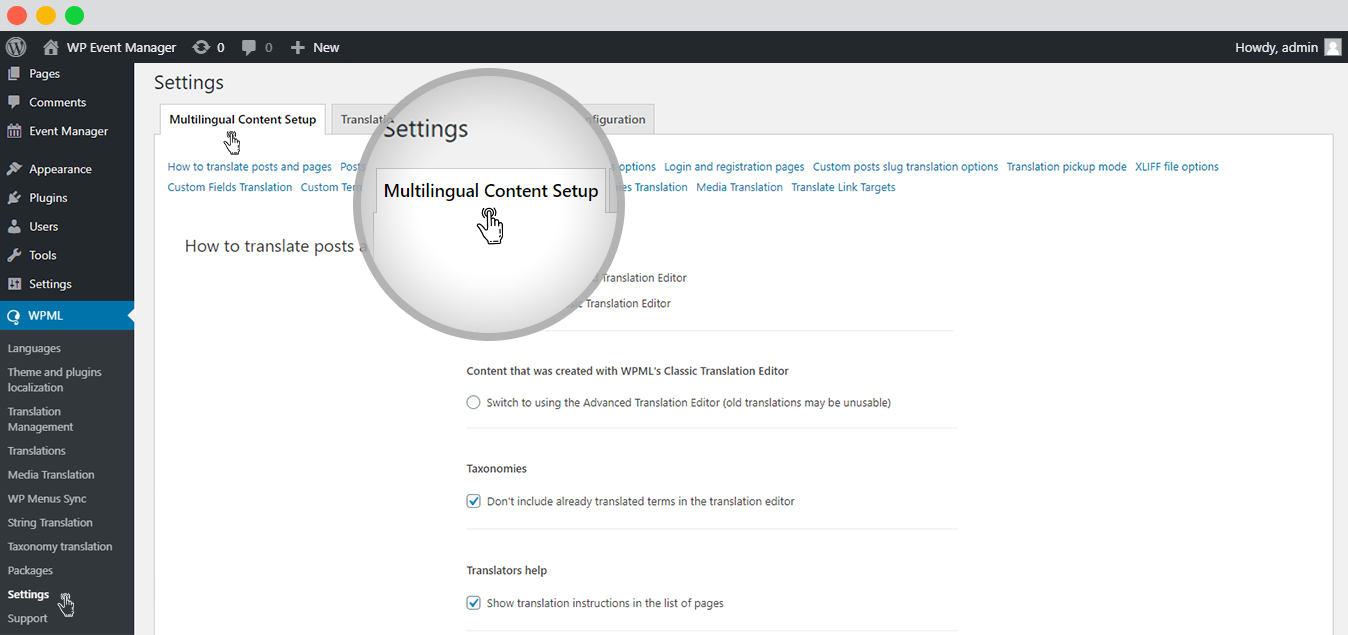 Content Setup with WPML