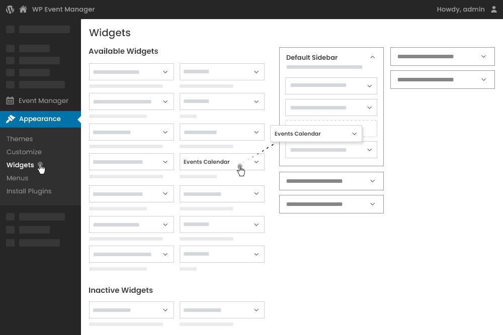 Manage Calendar Widget at Admin Panel