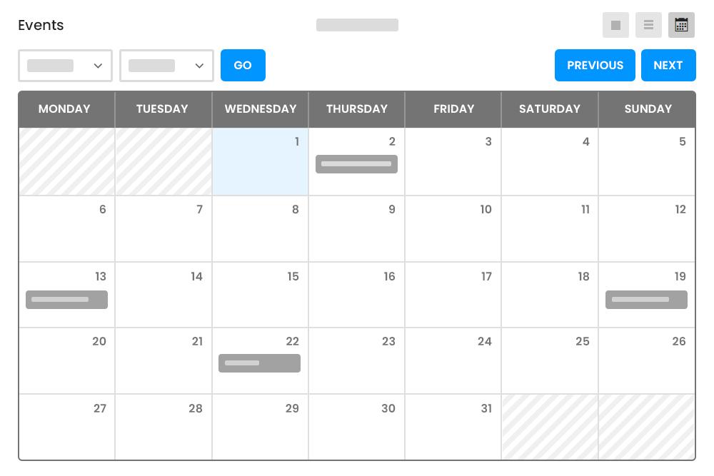 Calendar with Listings