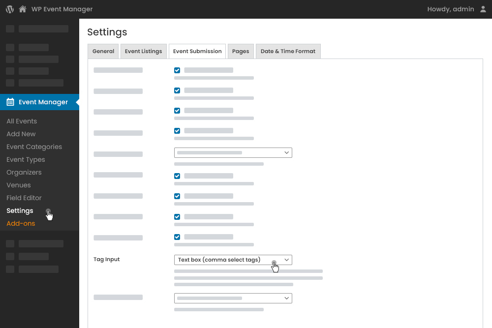 Tags Input Settings at Admin Panel