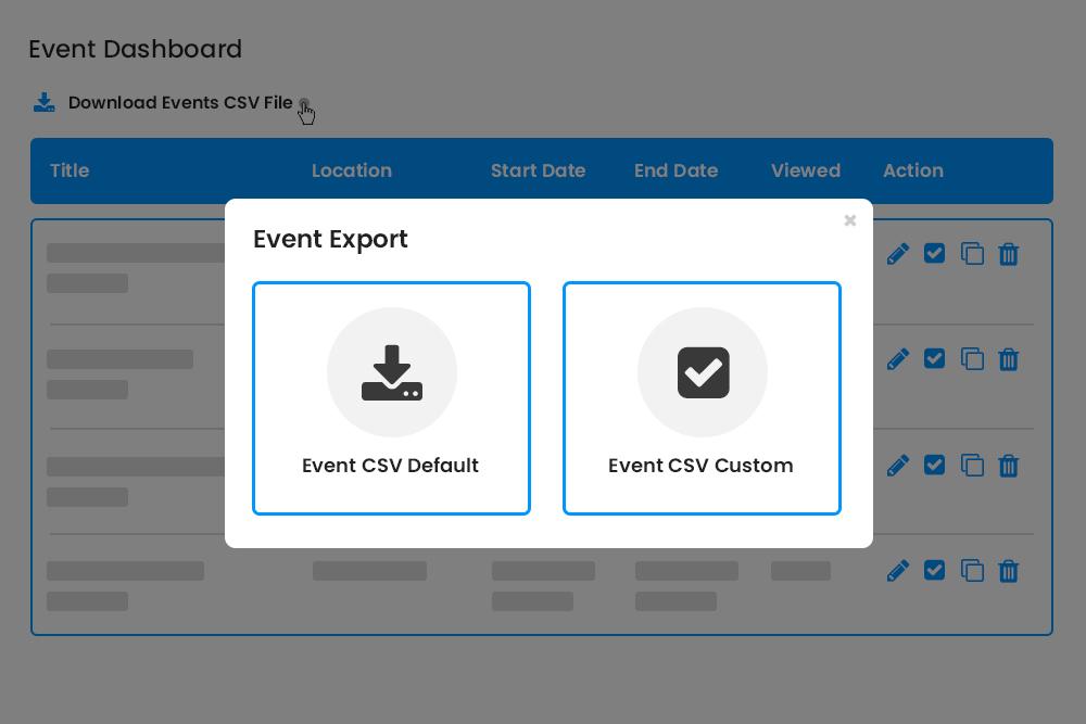 Export Events Options