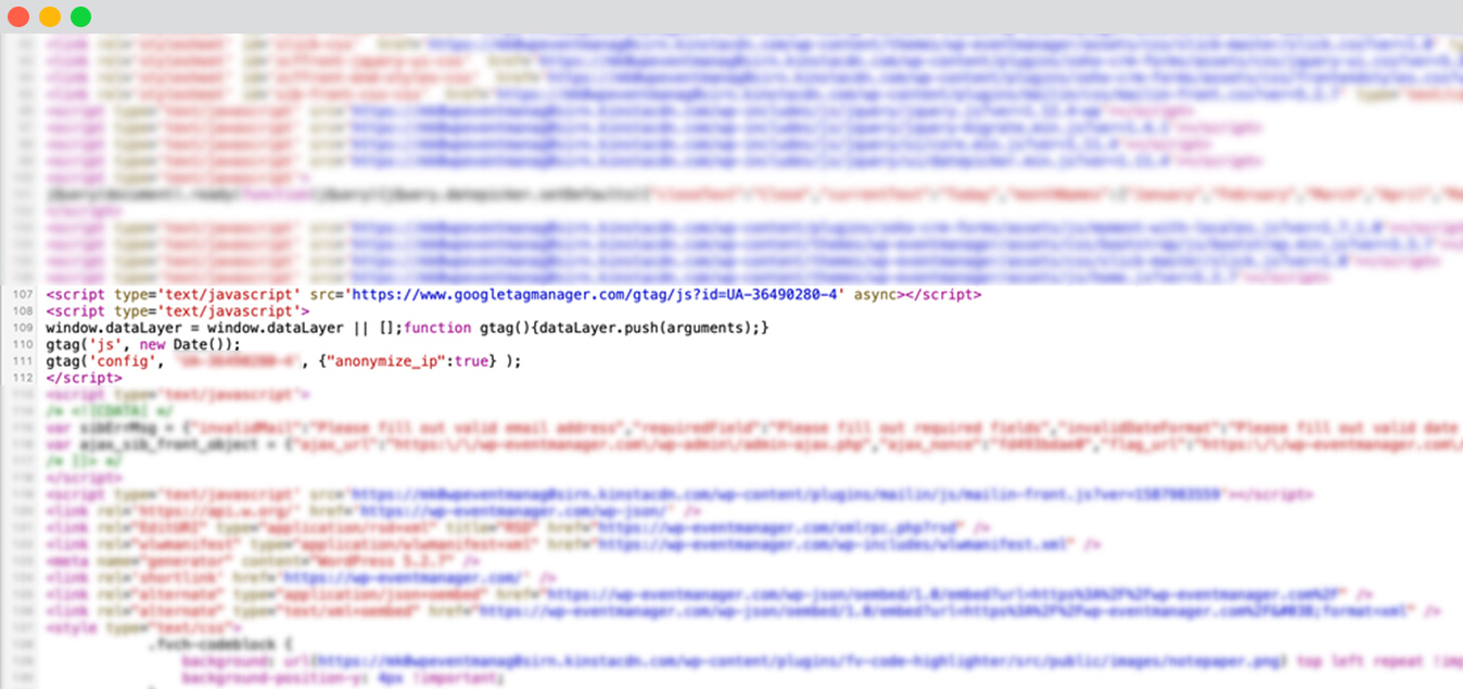 Analytic Code at Footer