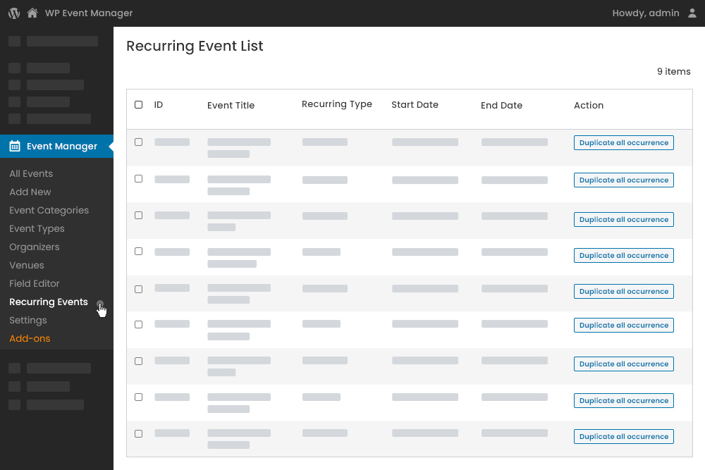 Recurring Events Settings at Admin Panel