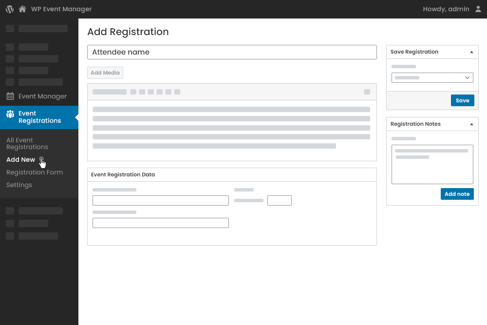 Add New Registration from Admin Panel