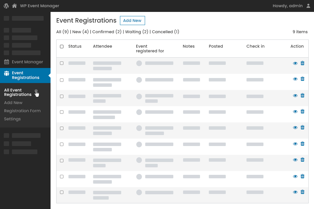 Registrations Actions from Admin Panel
