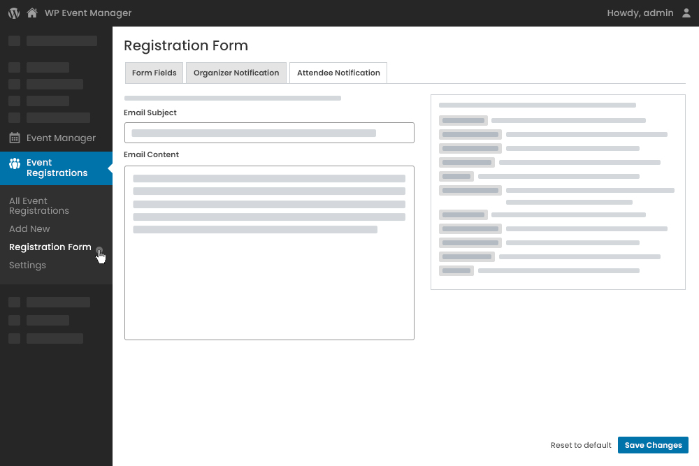 Registered Attendee E-mail Notification Settings at Admin Panel