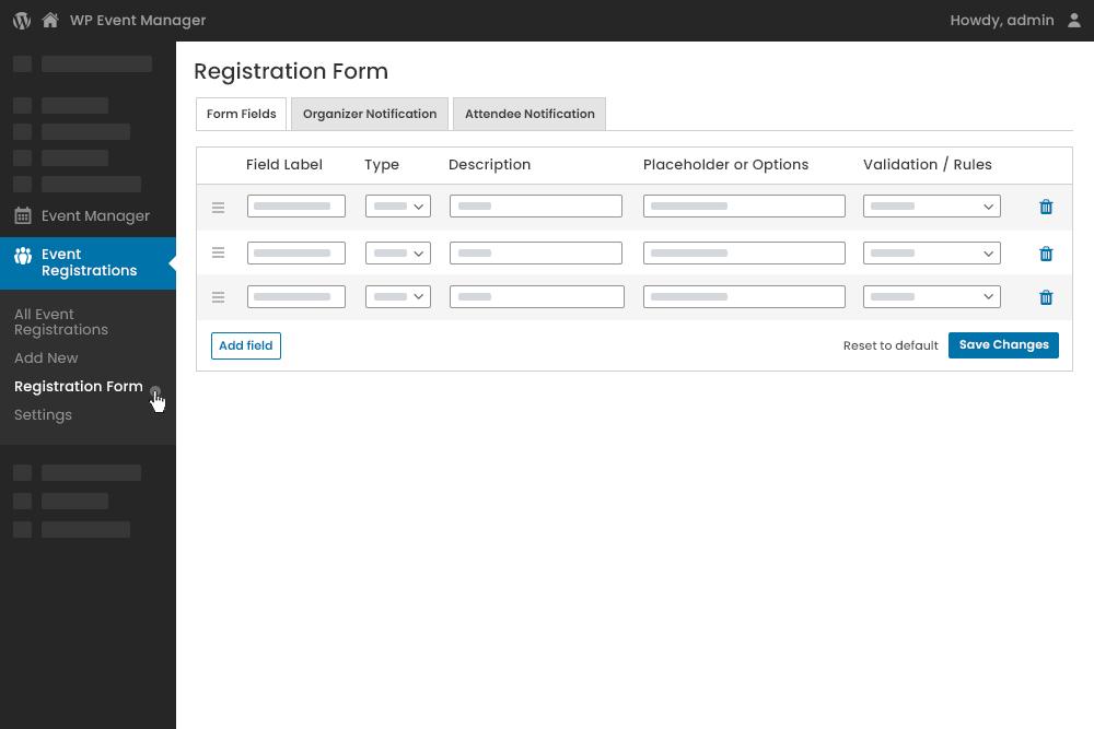 Registrations Form  Fields Editor at Admin Panel