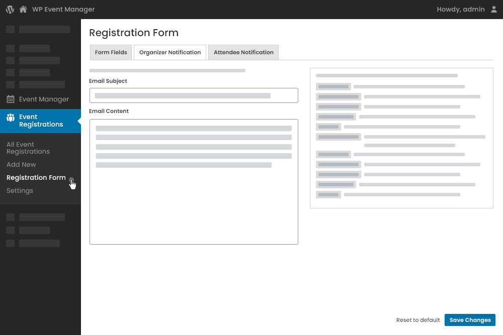 Registered Organizer E-mail Notification Settings at Admin Panel