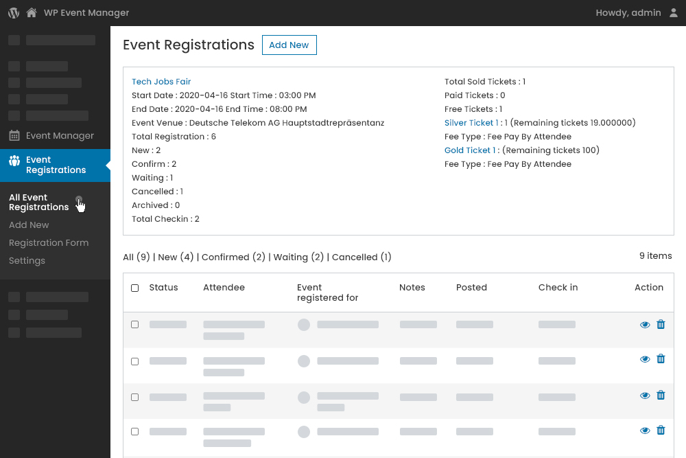 Tickets Overview Details at Registration at Admin Panel