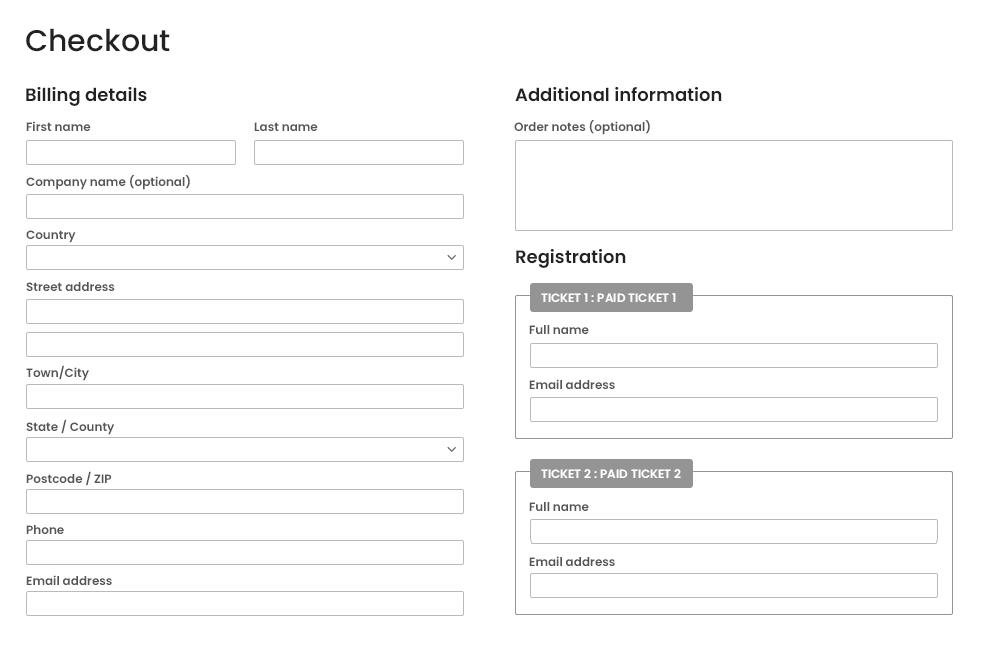 Ticket Registration Fields