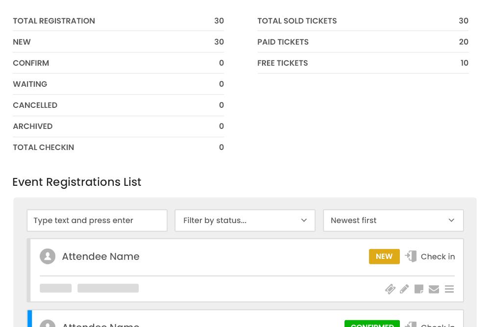 Registered User Information at Registration Dashboard