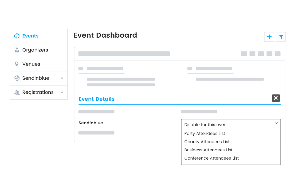 Event-specific syncing of attendees information to a specific audience list in the Sendinblue account