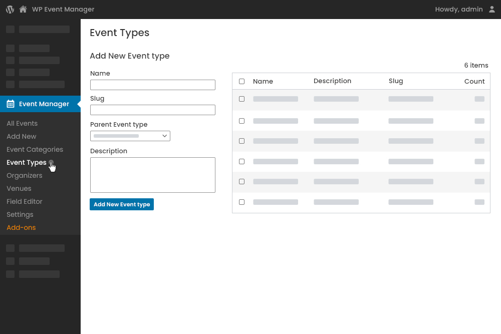 Add Event Type at Admin Panel