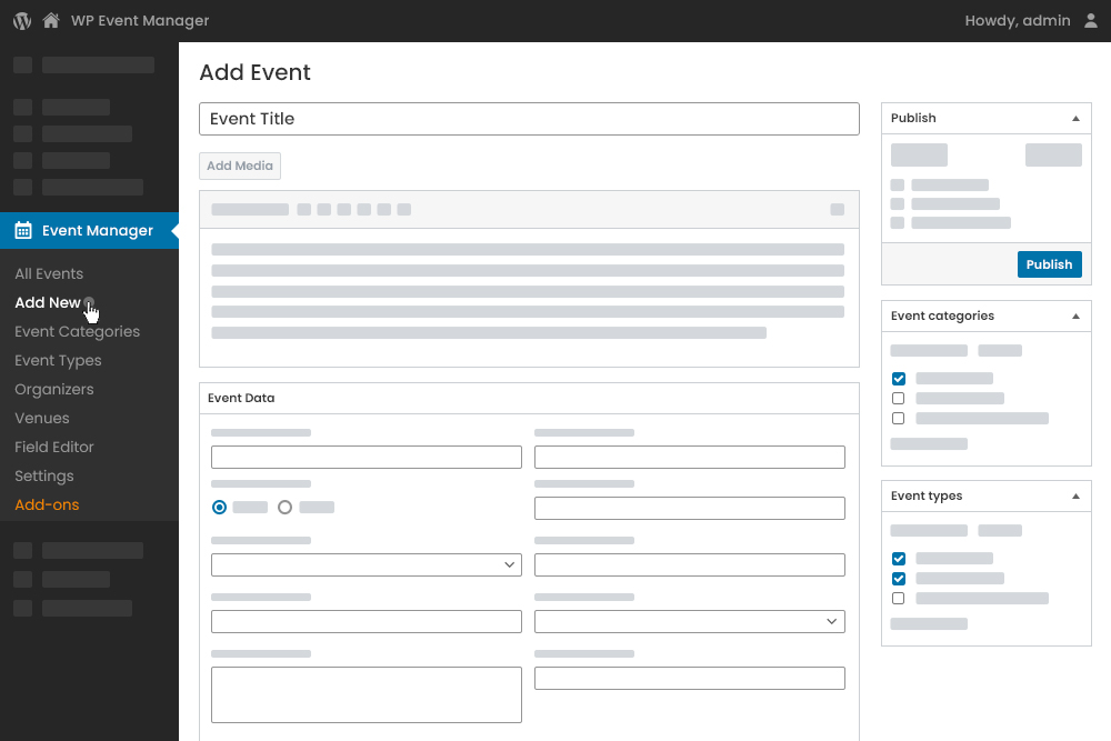 Add New Event at Admin Panel
