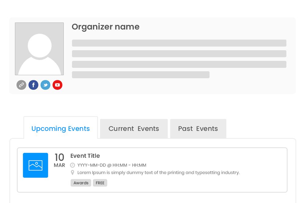 Specific Organizer Details
