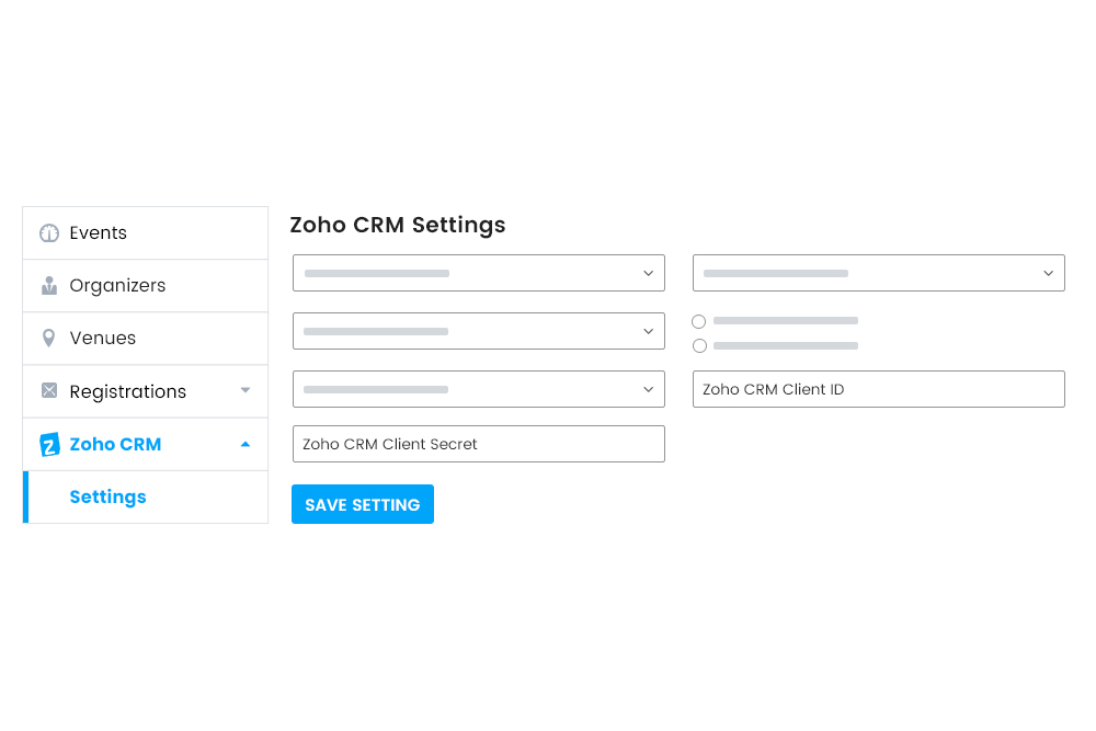 Zoho CRM settings at frontend