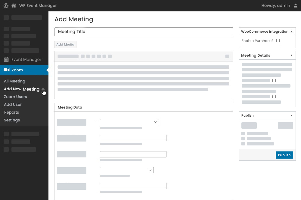 While Adding New Zoom Meetings Linking with WooCommerce at Admin Panel