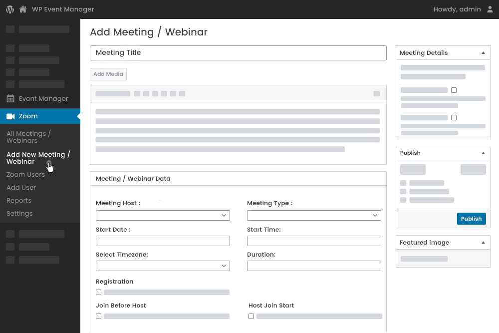 Adding New Zoom Meetings at Admin Panel