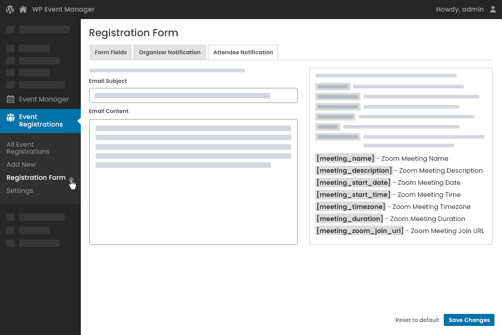 Send Zoom Details as Notification To Registered Users & Organizers