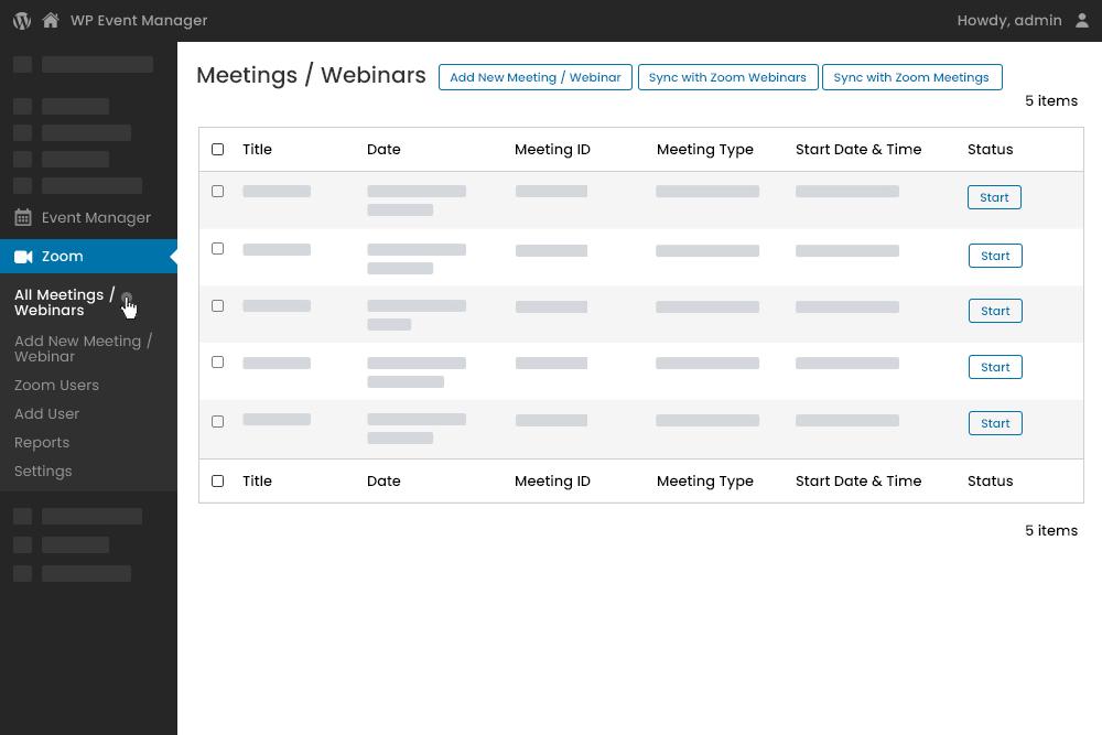 Zoom Meetings Dashboard at Admin Panel