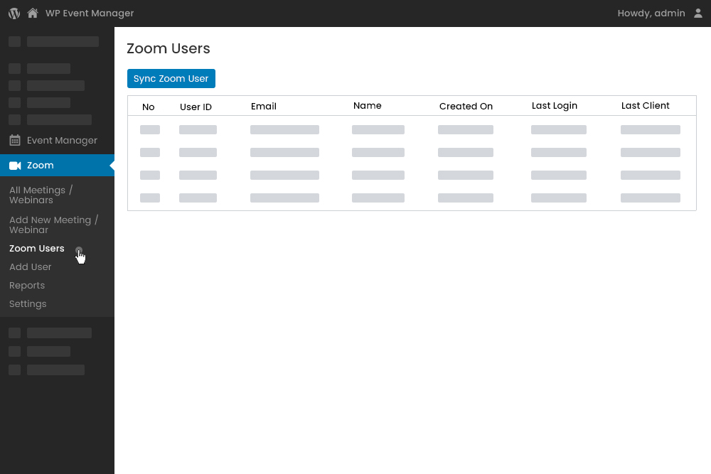 Zoom Users List at Admin Panel