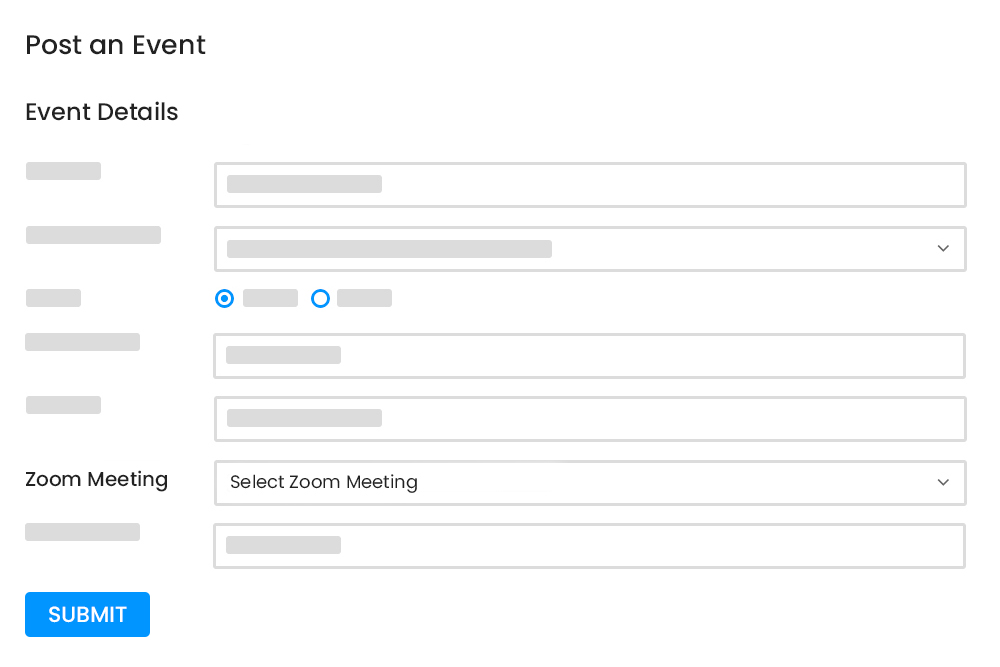 Zoom Meeting Linking with Event at Event Submission Form