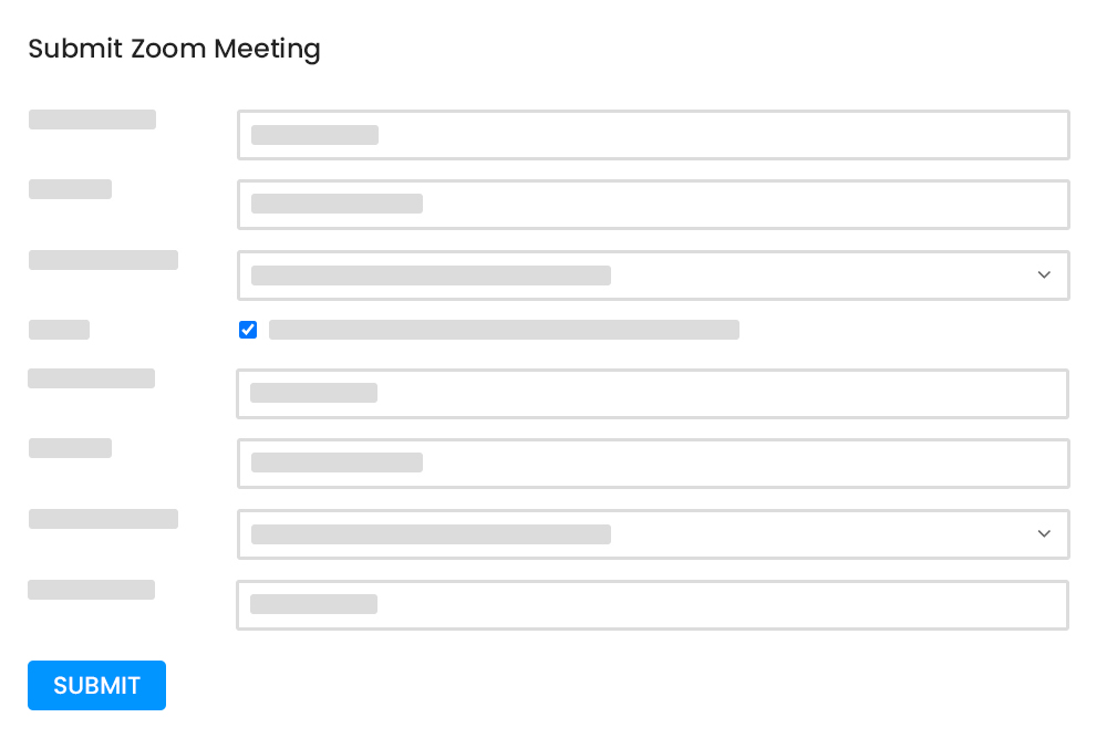 Zoom Submission Form at Frontend