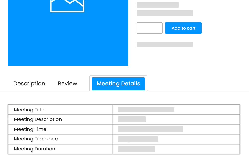 Zoom Meetings Details at WooCommerce Product Details Page