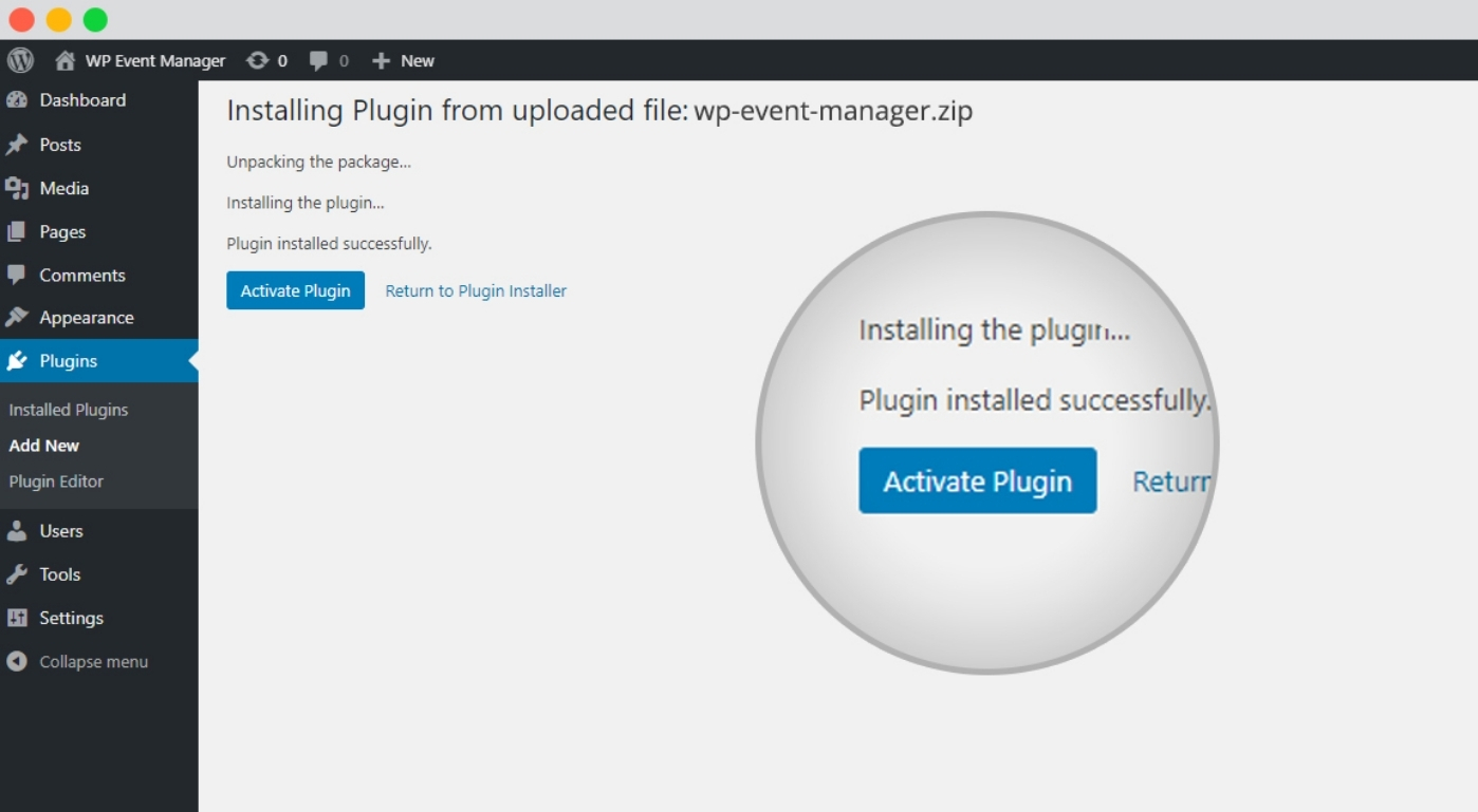Plugin Activation To Add an Events Calendar