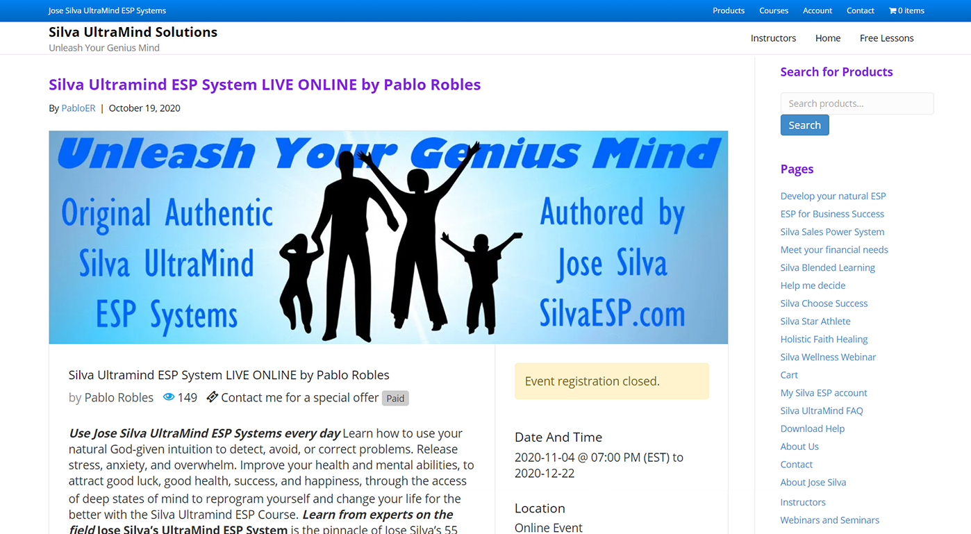 Silva UltraMind ESP Systems endup with WP Event Manager 3