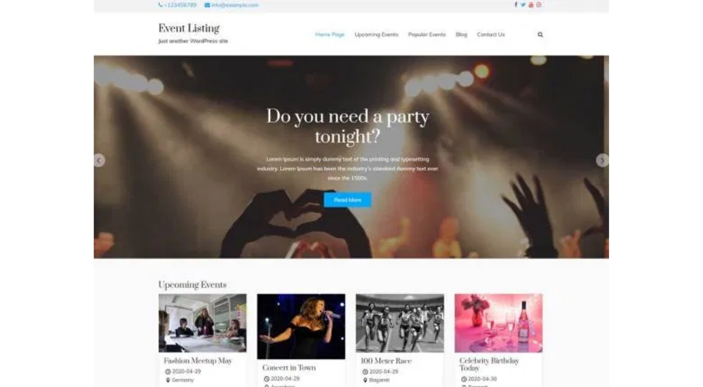 WP Event Manager Event Listing theme for event listing website